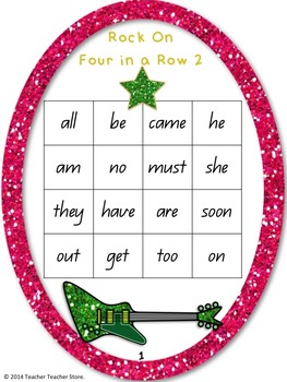 Rock On Sight Words Bundle Display Poster and Word Work Sets 1-5 Grades K-3