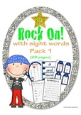 Rock On Sight Words Display Poster and Word Work Pack 1 Grades K-1