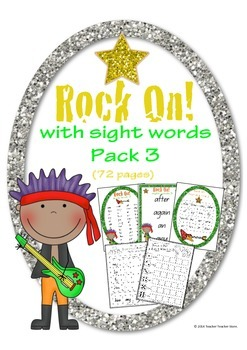 Rock On Sight Words Display Poster and Word Work Pack 3 Gr