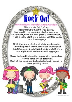 Rock On Sight Words Display Poster and Word Work Pack 5 Grades 2-3