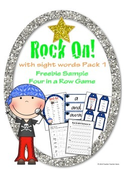 Rock On Sight Words Four in a Row Game Free Sample from Rock On with Sight Words