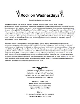 Rock On Wednesdays Poetry Analysis - Don't Stop Believin' by Journey