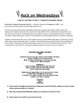 Rock On Wednesdays Poetry Analysis - Have You Ever Seen the Rain - CCR