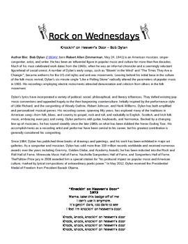 Rock On Wednesdays Poetry Analysis - Knockin' on Heaven's Door by Bob Dylan
