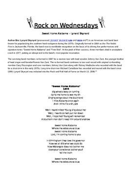Rock On Wednesdays Poetry Analysis - Sweet Home Alabama by Lynard Skynard