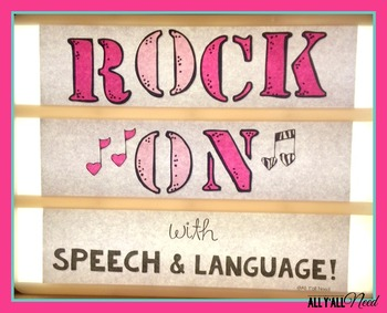 Rock On with Speech & Language Sign for Lightbox