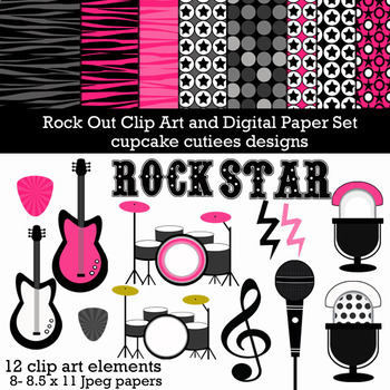Rock Out Guitar Music Digital Clip Art Set with Paper Collection