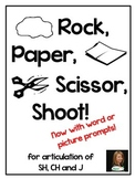 Fun Games for SH, CH, J Articulation: Rock Paper Scissor