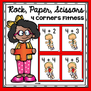 Rock Paper Scissors 4 Corner Fitness Addition Game for PE & Active Classrooms