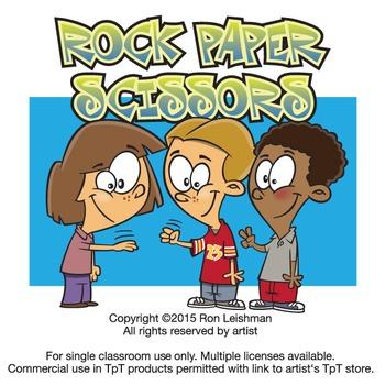 Rock Paper Scissors Cartoon Clipart
