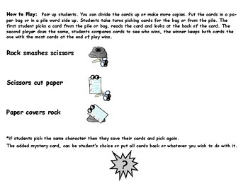 Rock Paper Scissors Journeys 2nd Grade Sight Words Lessons 1-24