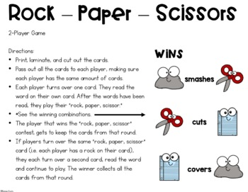 Rock, Paper, Scissors- L-blends Word Game