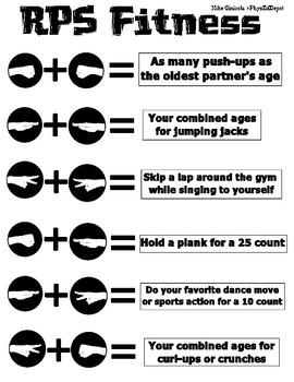 Rock Paper Scissors (R-P-S) Fitness 2 Person PE Set