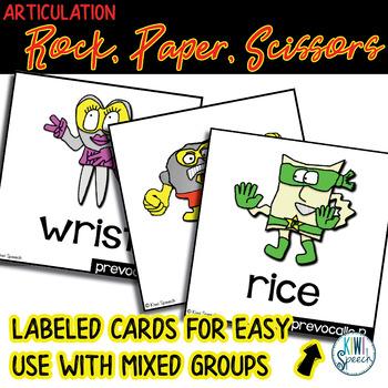 Rock, Paper, Scissors for Articulation - Set III: R, R blends, SH, CH, J