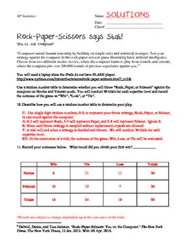 Rock, Paper, Scissors says Stat: A Chi-Square Lab