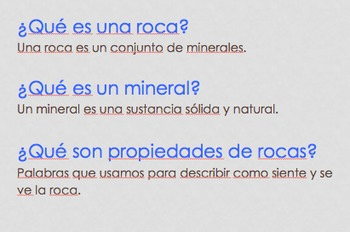 Rock Properties PowerPoint in Spanish