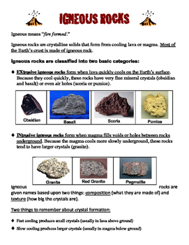 Rock Recipes & Rock Identification Activity