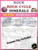 Rock, Rock Cycle and Minerals_NO PREP:Label/Graphic organizer/Research table etc