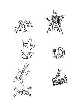 Rock & Roll Black & White Clip Art, Music, Follow Me Some Are Free