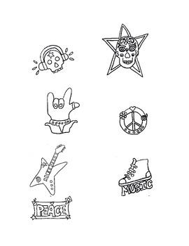 Rock & Roll Black & White Clip Art, Music, Follow Me Some