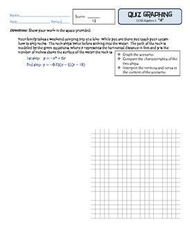 Rock Skipping Quadratic Graphing Quiz