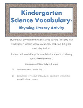 Rock & Soil Kindergarten Science Vocabulary Rhyming Activity