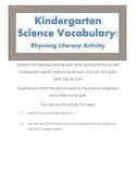 Rock & Soil Kindergarten Science Vocabulary Rhyming Activity