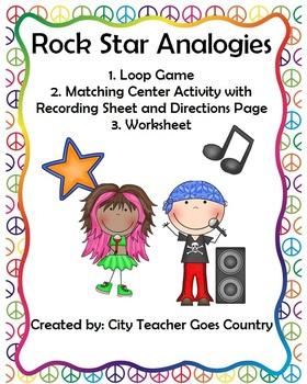 Analogies (loop game, center & worksheet)