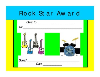 Rock Star Awards and Certificates