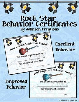 Rock Star Behavior Certificates