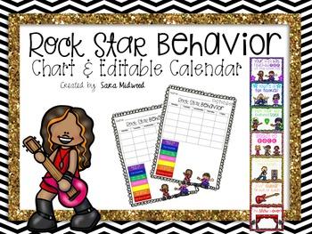 Rock Star Behavior Clip Chart and Editable Calendar