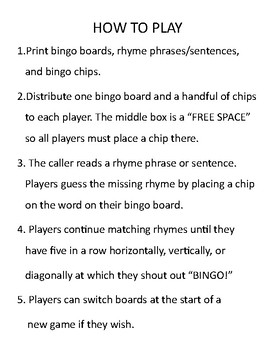 Rock Star Bingo Game