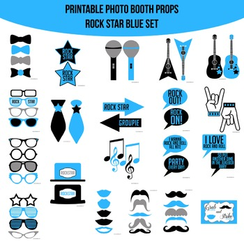 Rock Star Blue Printable Photo Booth Prop Set