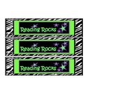 Rock Star Bookmarks with zebra print in lime green and pur