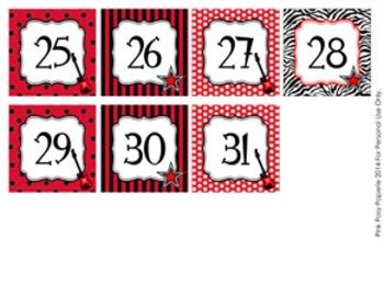 Rock Star Calendar Numbers