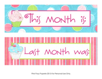 Cupcake Calendar Set - Months - Days - Numbers