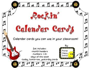 Rock Star Calendar Set~ Rock and Roll Theme