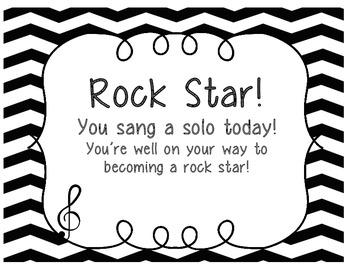"Rock Star Certificates, ""You sang a solo today!"" [FREEBIE]"