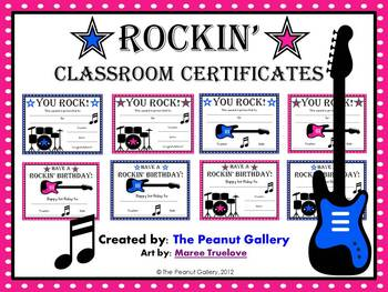 Rock star classroom certificates by the peanut gallery tpt rock star classroom certificates yelopaper Gallery
