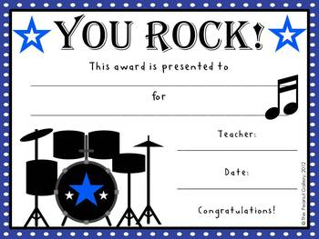 Rock star classroom certificates by the peanut gallery tpt rock star classroom certificates yadclub Gallery