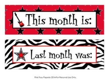Rock Star Classroom Decor Monthly Calendar Headers