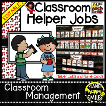 Classroom Helper Jobs (EDITABLE) ~ Rock Star Theme