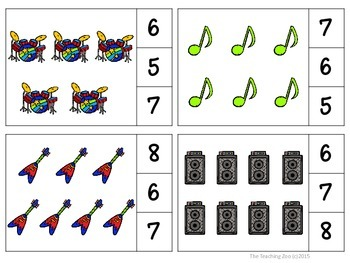 Rock Star Count & Clip Numbers 1- 30 Task Cards