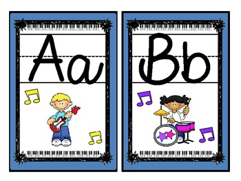 Rock Star (Darker Color Scheme) Large Alphabet Cards with Handwriting Lines