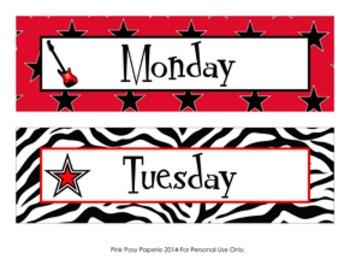 Rock Star Days of the Week Calendar Headers