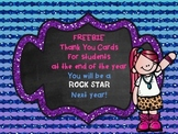FREEBIE Rock Star End of the Year Thank You Cards Awards C