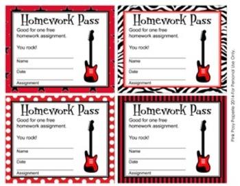 Rock Star Homework Passes