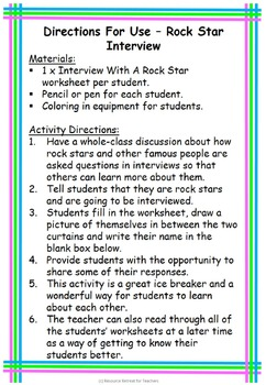 Rock Star Interview Back to School or End of Year Fun, Printable Worksheet