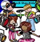 Rock Star Kids clip art  - Color and B&W-