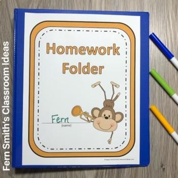 Student Binder Covers - Rock Star Monkeys Student Work Folder Cover